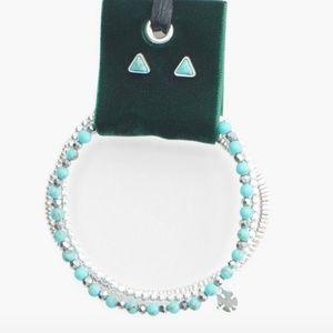 NWT Lucky Brand Green Bracelet Velvet Earring Set
